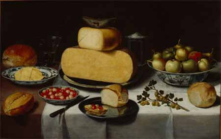 Floris van Schooten, Breakfast still life with cheese. Wuppertal, Von der Heydt-Museum