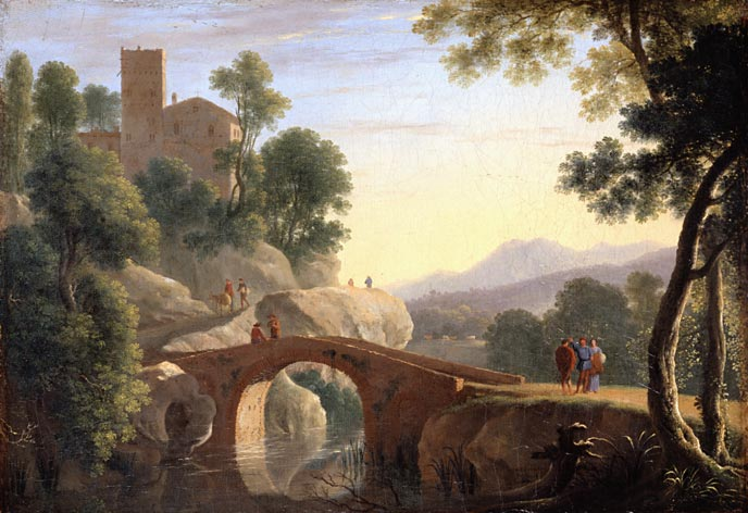 Herman van Swanevelt, Italian landscape with bridge. Dulwich Picture Gallery