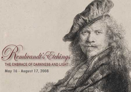 Poster for exhibition of Rembrandt etchings from Boston, Museum of Fine Arts, at the Chrysler Museum in Norfolk, Virginia, May-July 2008