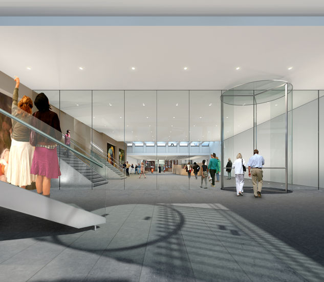 Impression of the underground foyer that will connect the seventeenth-century mansion with the Art Deco building at Plein 26.
