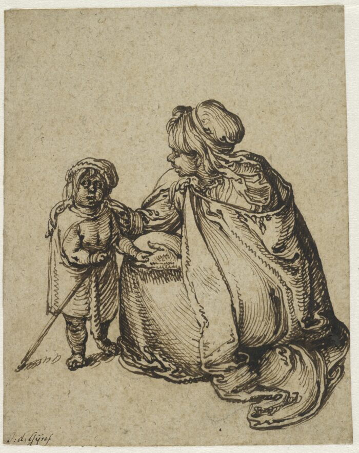 3. Jacques de Gheyn II (ca. 1565-1625), <em>A Roma Woman with a Child</em>, ca. 1608<br>Brown ink and black chalk on light tan antique laid paper, 162 x 131 mm. The Maida and George Abrams Collection, Fogg Art Museum, Harvard University, Cambridge, Massachusetts, Promised Gift, 25.1998.10