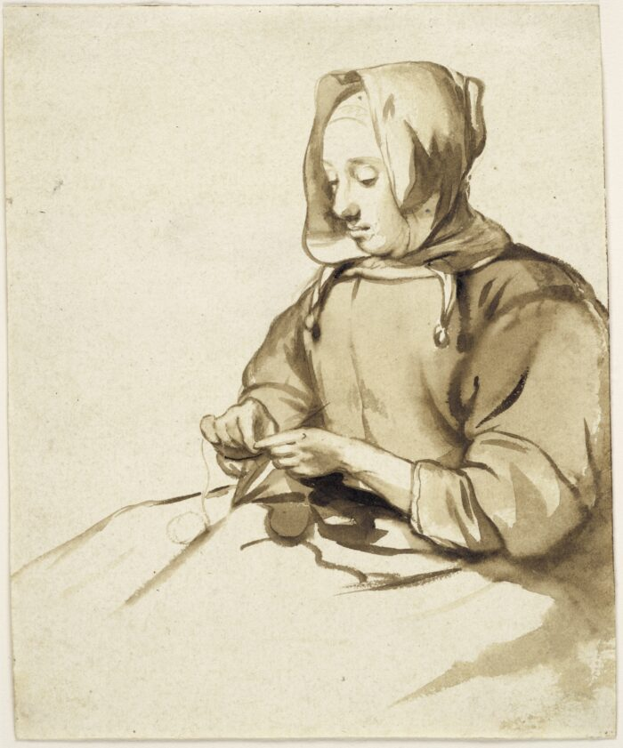 1. Gerbrand van den Eeckhout (1621-1674), <em>A Woman doing Handwork</em>, ca. 1655<br> Brown ink and brown wash on cream antique laid paper, 179 x 146 mm. The Maida and George Abrams Collection, Fogg Art Museum, Harvard University, Cambridge, Massachusetts, Promised Gift, 25.1998.55