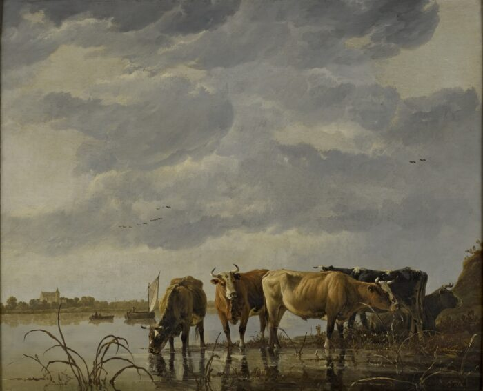 Aelbert Cuyp (1620-1691), Cattle Watering by an Estuary , ca. 1650 oil on panel, 59.7 x 72.4 cm The Bute Collection at Mount Stuart