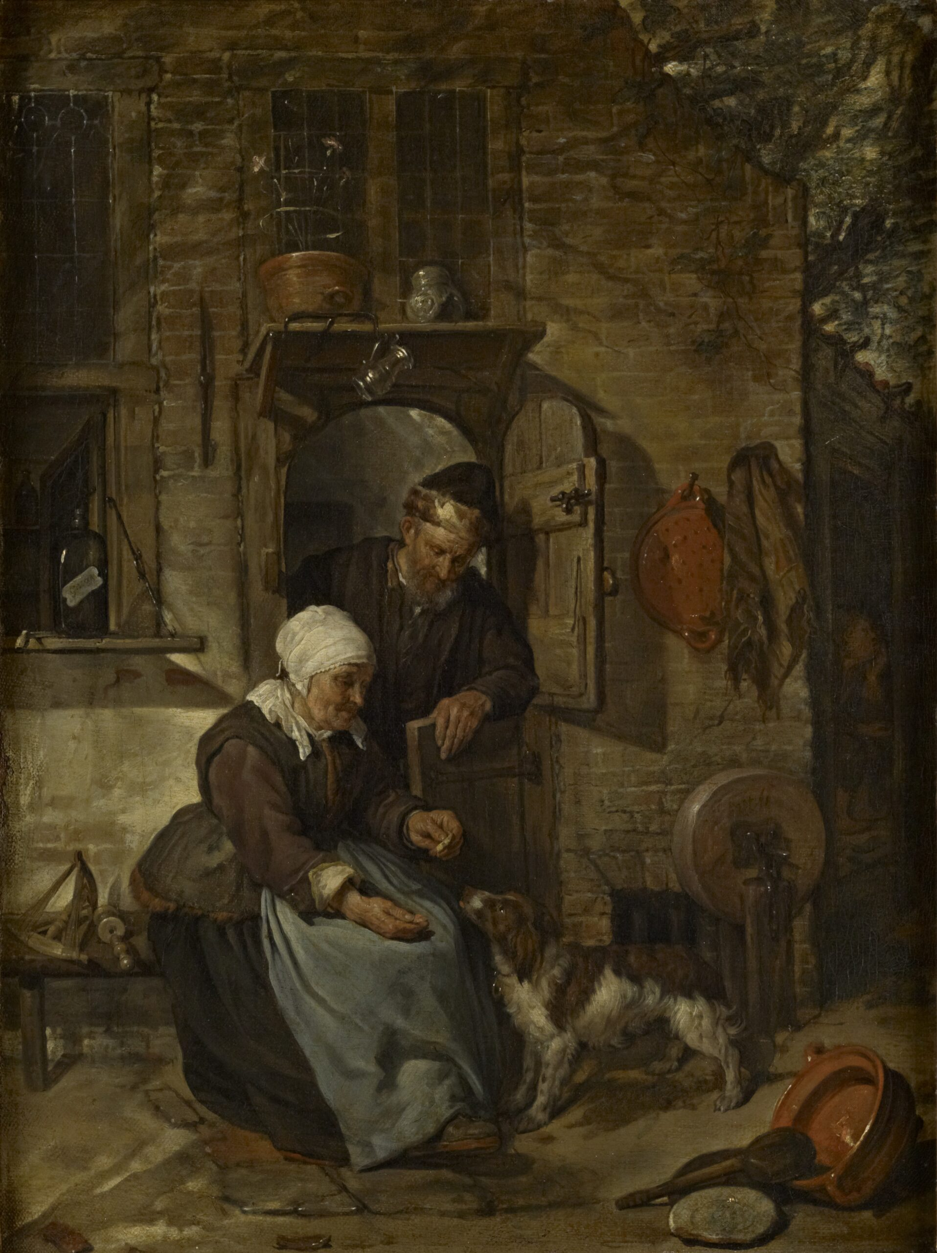 Gabriel Metsu (1629-1667), An Old Woman Feeding a Dog, ca. 1654-57 oil on canvas, 44.5 x 33.5 cm The Bute Collection at Mount Stuart