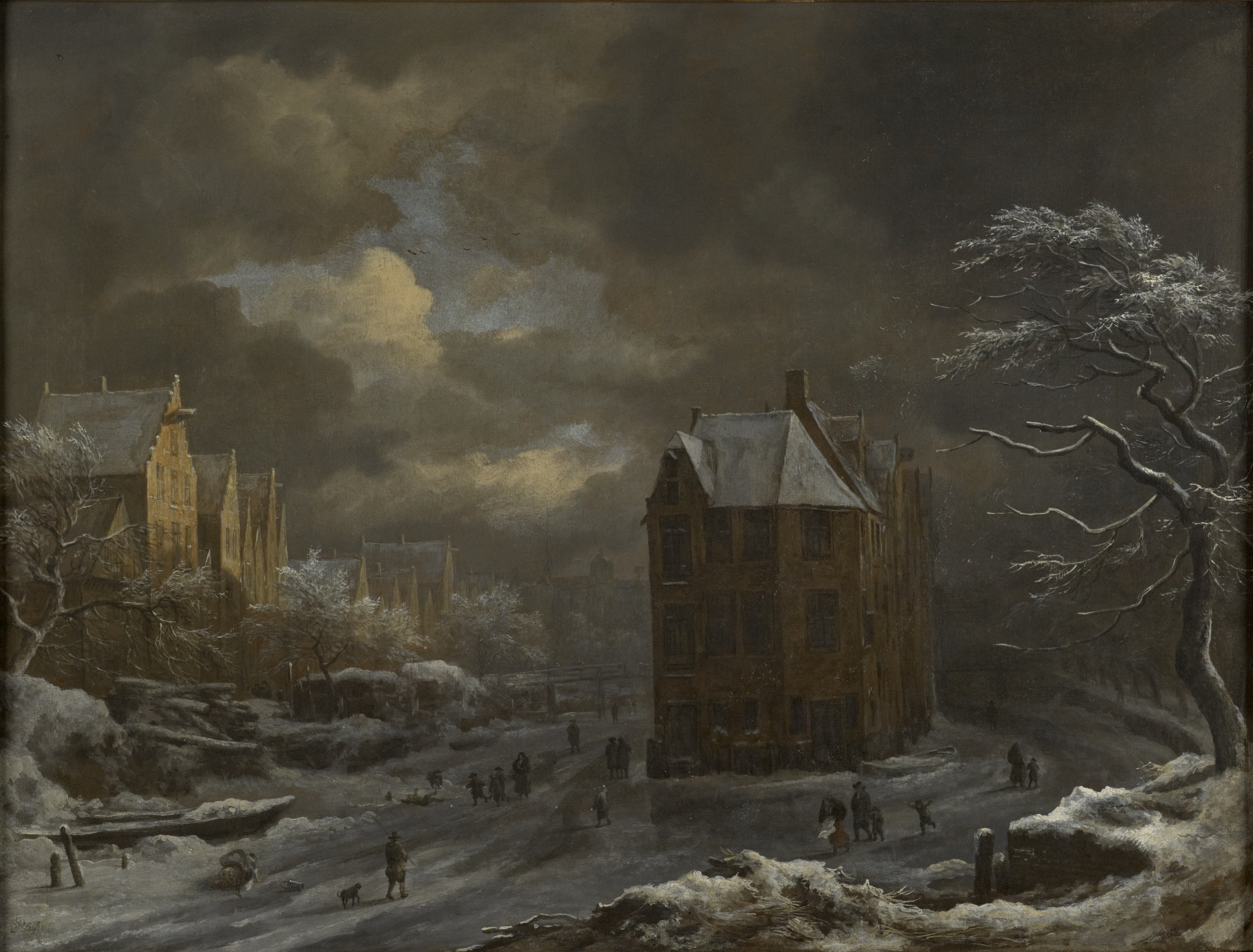 """Jacob Isaacsz van Ruisdael (1628-1682), Winter View of the """"Hekelveld"""" in Amsterdam, ca. 1665-1670s oil on canvas, 49.6 x 65.1 cm The Bute Collection at Mount Stuart"""