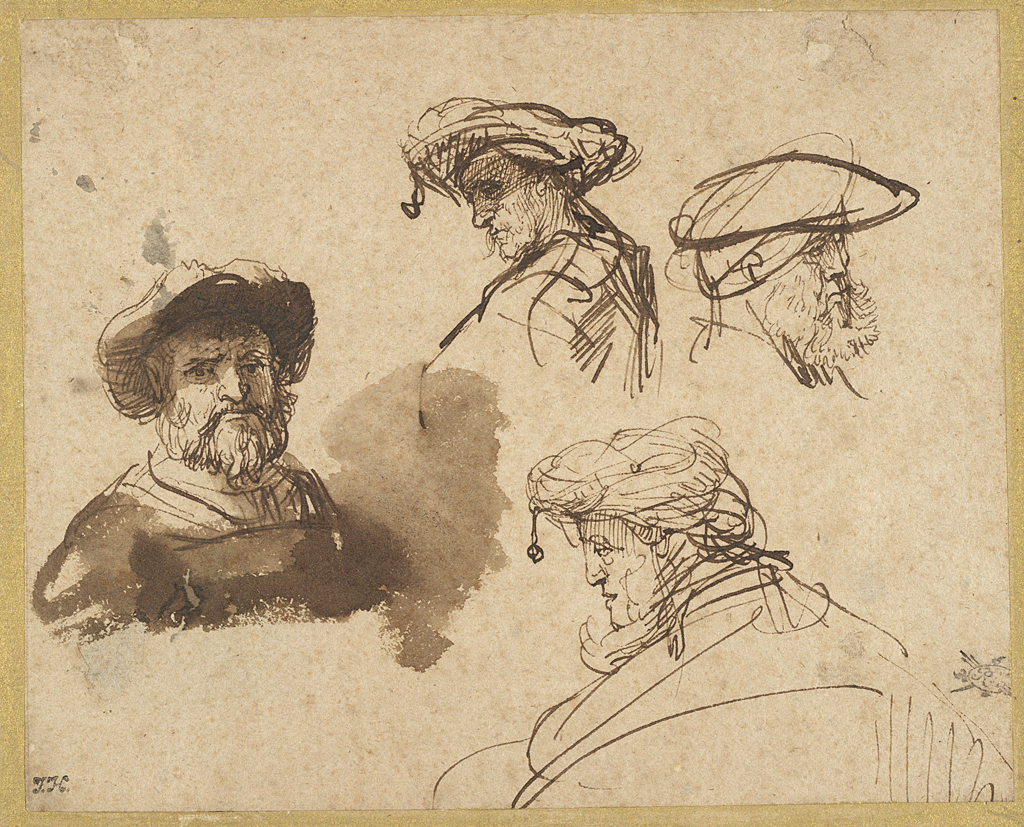 4. Rembrandt (1606-1669), <em>Four Studies of Male Heads</em>, ca. 1636<br>Brown ink and brown wash on cream antique laid paper, 126 x 158 mm. Maida and George Abrams Collection, Boston, Massachusetts