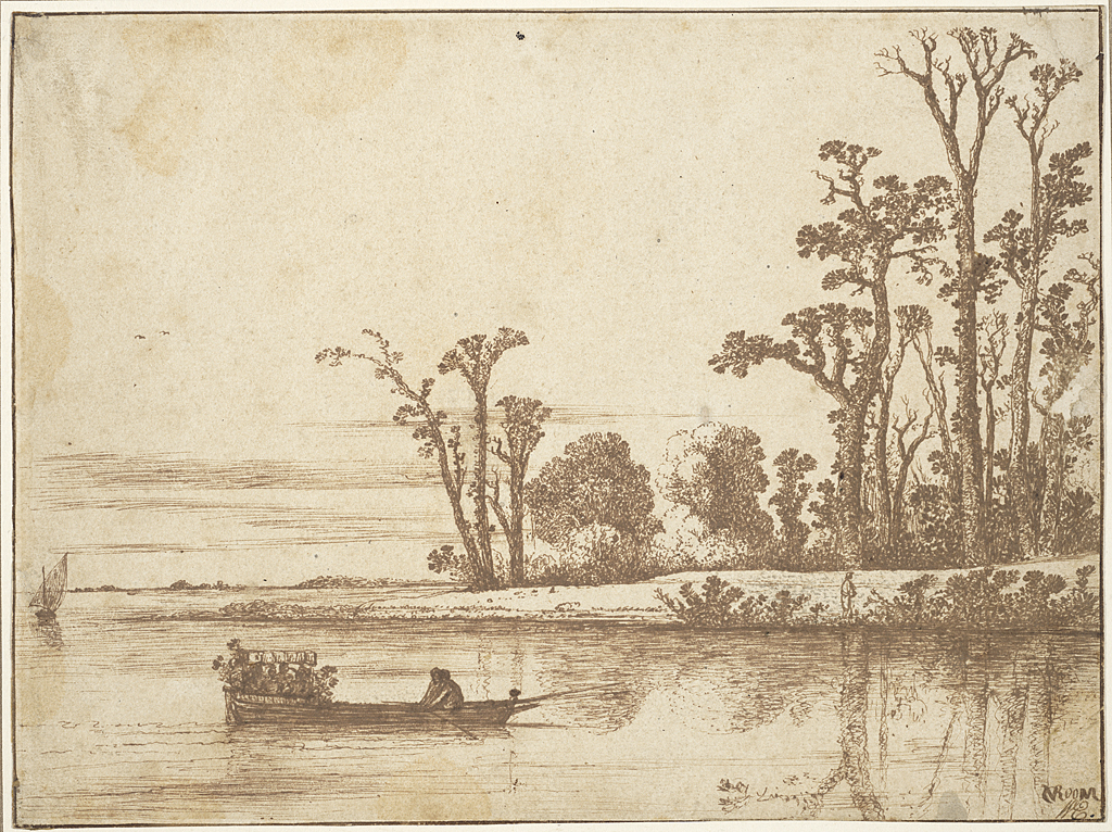 2. Cornelis Vroom (ca. 1591-1661), <em>River Landscape</em>, ca. 1622-23<br> Brown ink on cream antique laid paper, 181 x 242 mm Maida and George Abrams Collection, Boston, Massachusetts