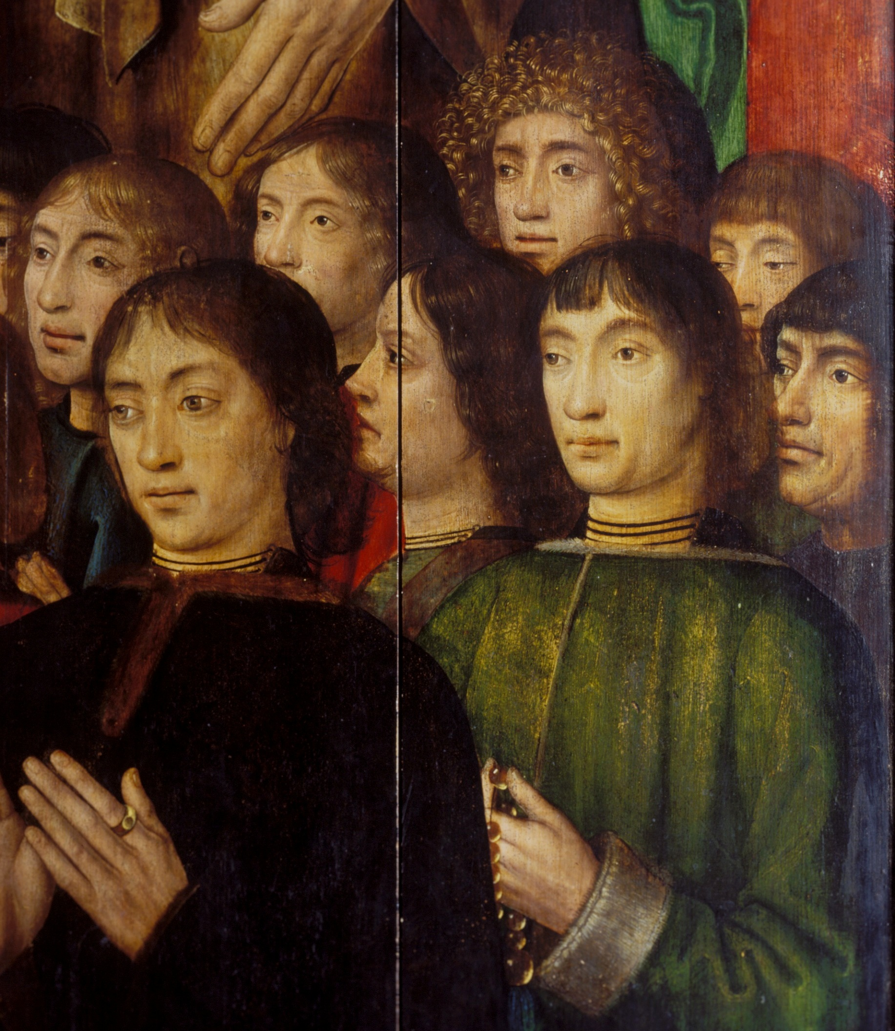 Bruges Master of the Saint Lucy Legend (1430/1440-1506/1509), <em>The Altarpiece of the Virgin Mary of the Brotherhood of the Black Heads</em>, before 1493, Art Museum of Estonia<br>Praying donors on the inside of the outer wings
