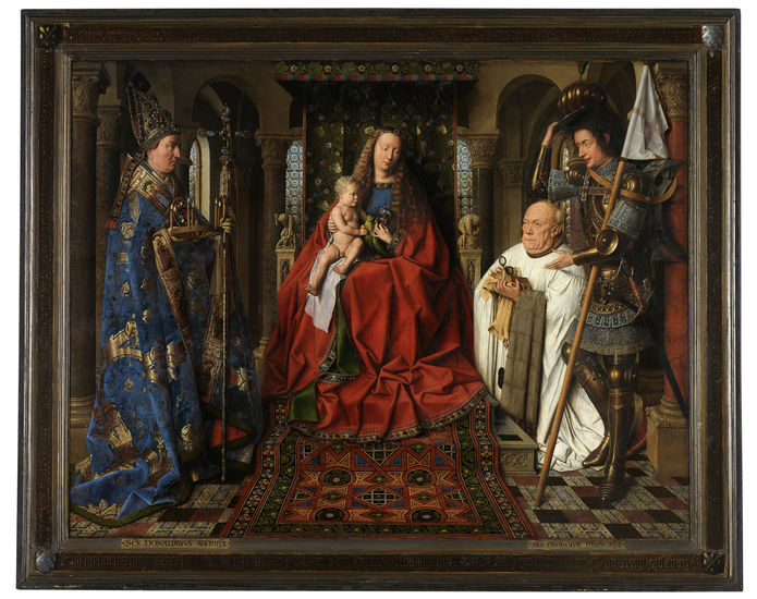 Jan van Eyck (1390-1441), <em>Virgin and Child with Canon Joris van der Paele</em>, 1436<br> Groeningemuseum, Musea Brugge © Lukas - Art in Flanders vzw, photo Hugo Maertens