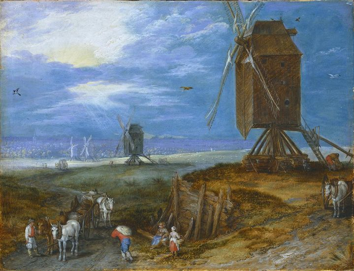 Jan Brueghel II (1601-1678), <em>Landscape with Windmill</em><br> © Staatliches Museum Schwerin Photo: Elke Walford