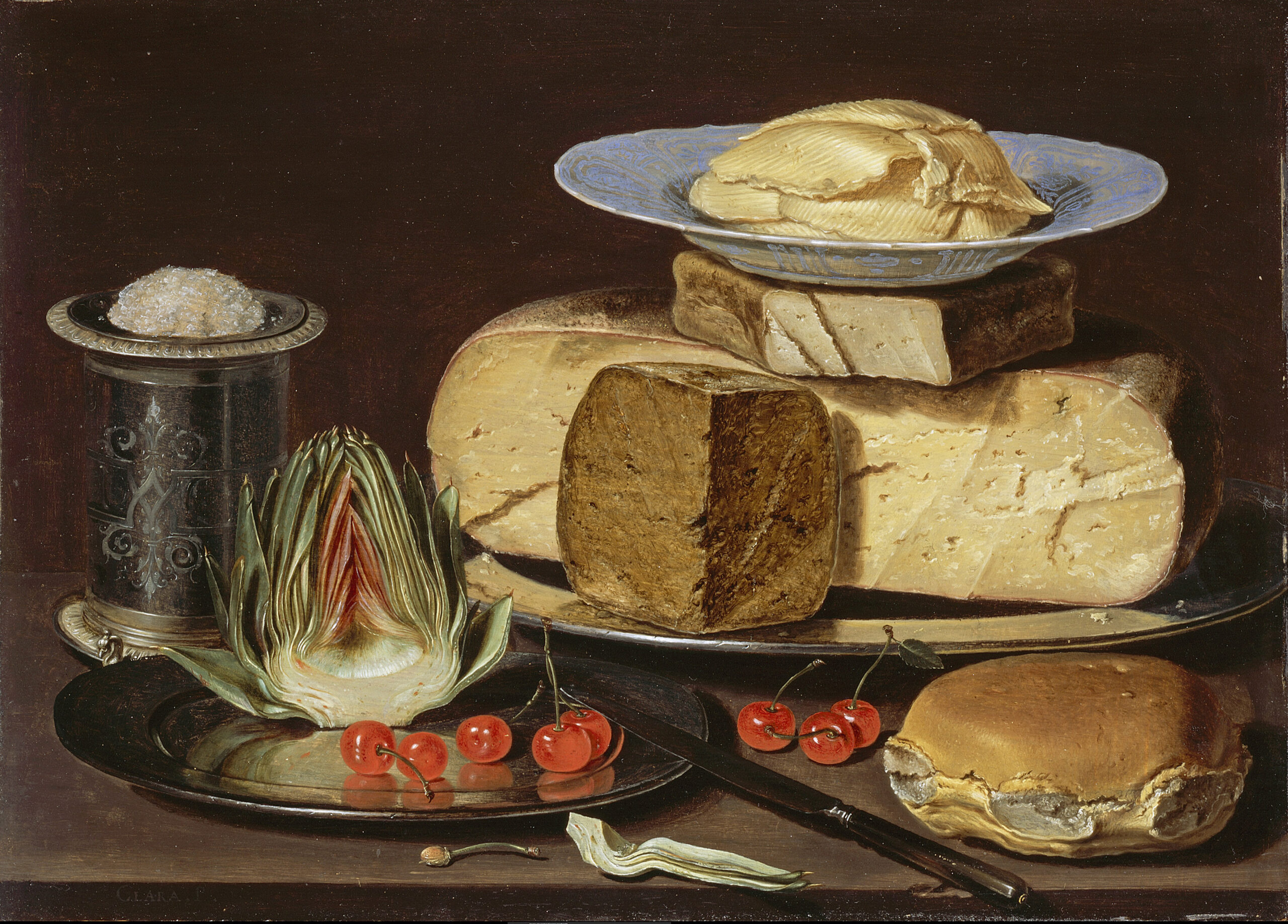 Clara Peeters (ca. 1594-after 1639/before 1657), <em>Still Life with Cheeses, Artichoke, and Cherries</em>, ca. 1625<br>LACMA, Los Angeles