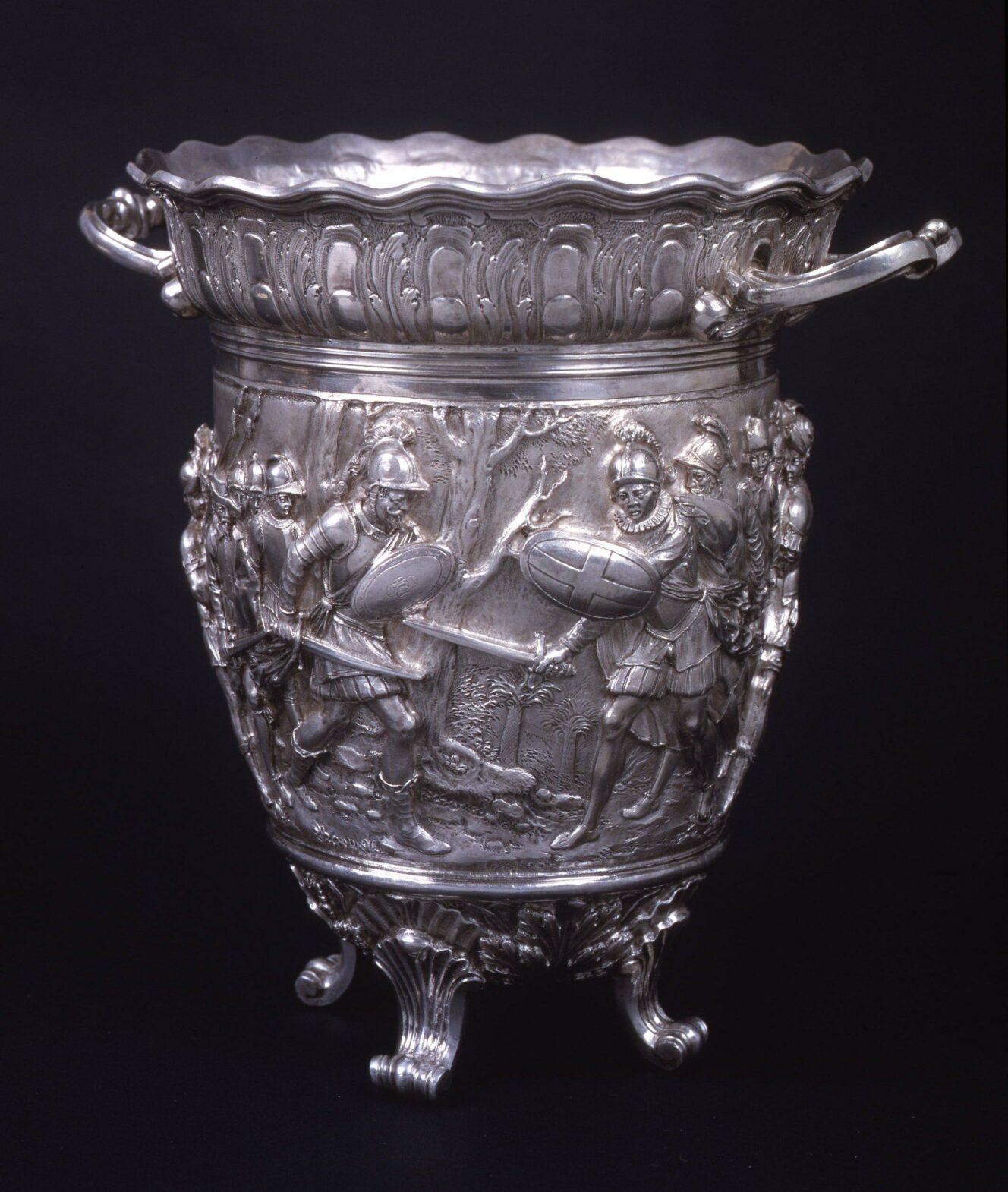 Gio Aelbosca and unknown 19th-century silversmiths, Figurative vase Colombus … the revolt of Francisco de Porras, Galleria Nazionale di Palazzo Spinola, Genoa