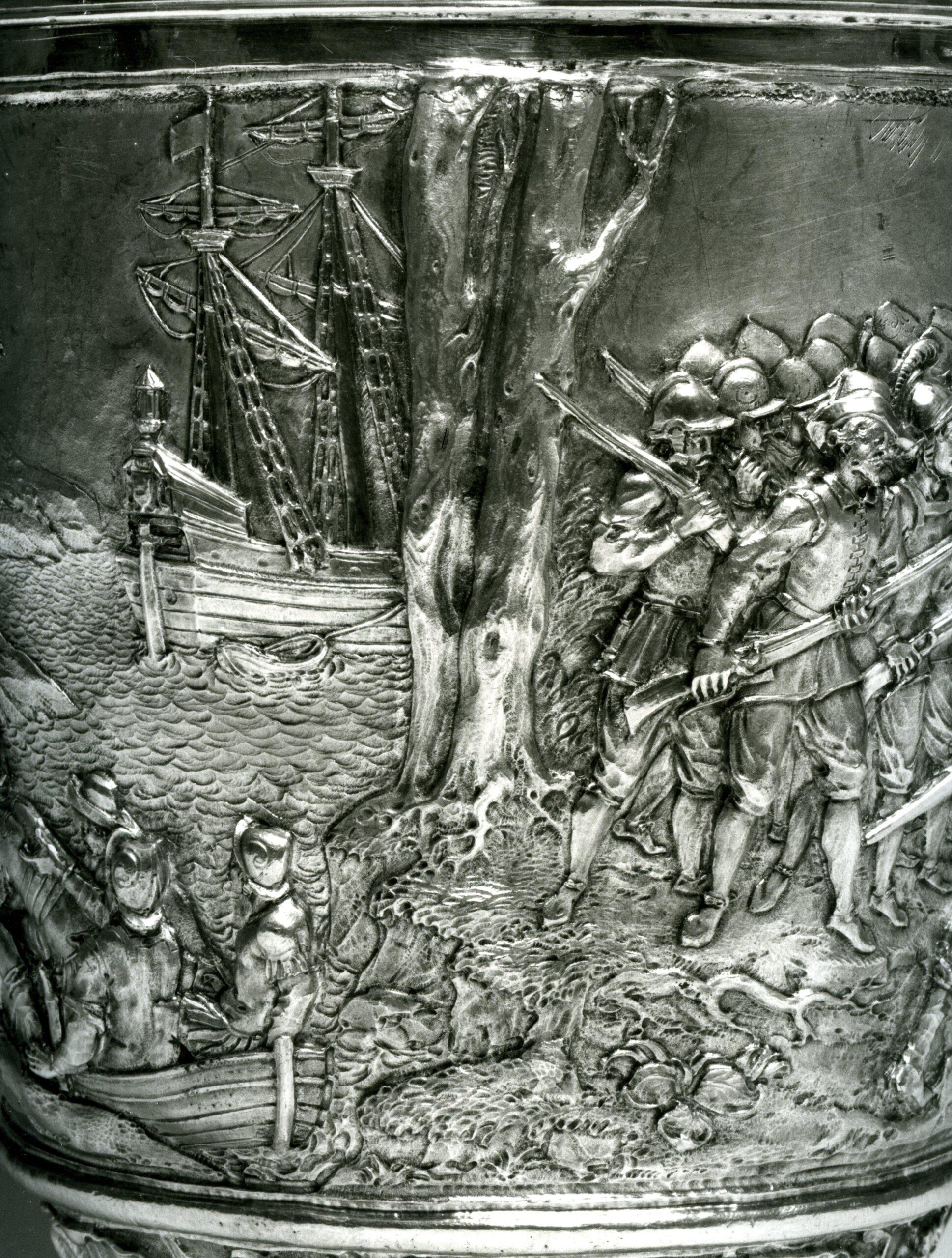 Gio Aelbosca an unknown 19th-century silversmiths, Figurative vase Colombus … the revolt of Francisco de Porras(detail), Galleria Nazionale di Palazzo Spinola, Genoa