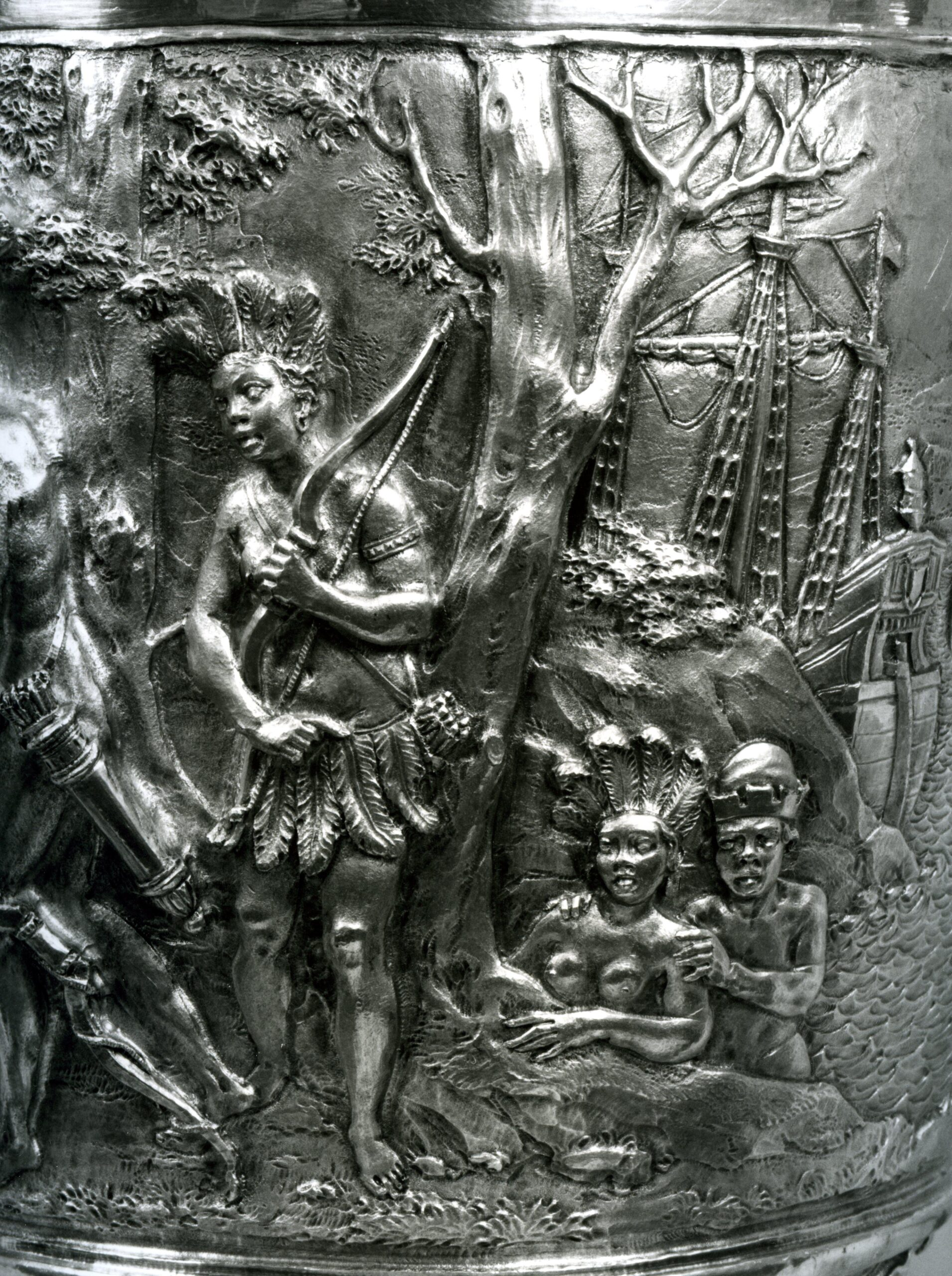 Gio Aelbosca an unknown 19th-century silversmiths, Figurative vase Natives paying homage to Colombus(detail), Galleria Nazionale di Palazzo Spinola, Genoa
