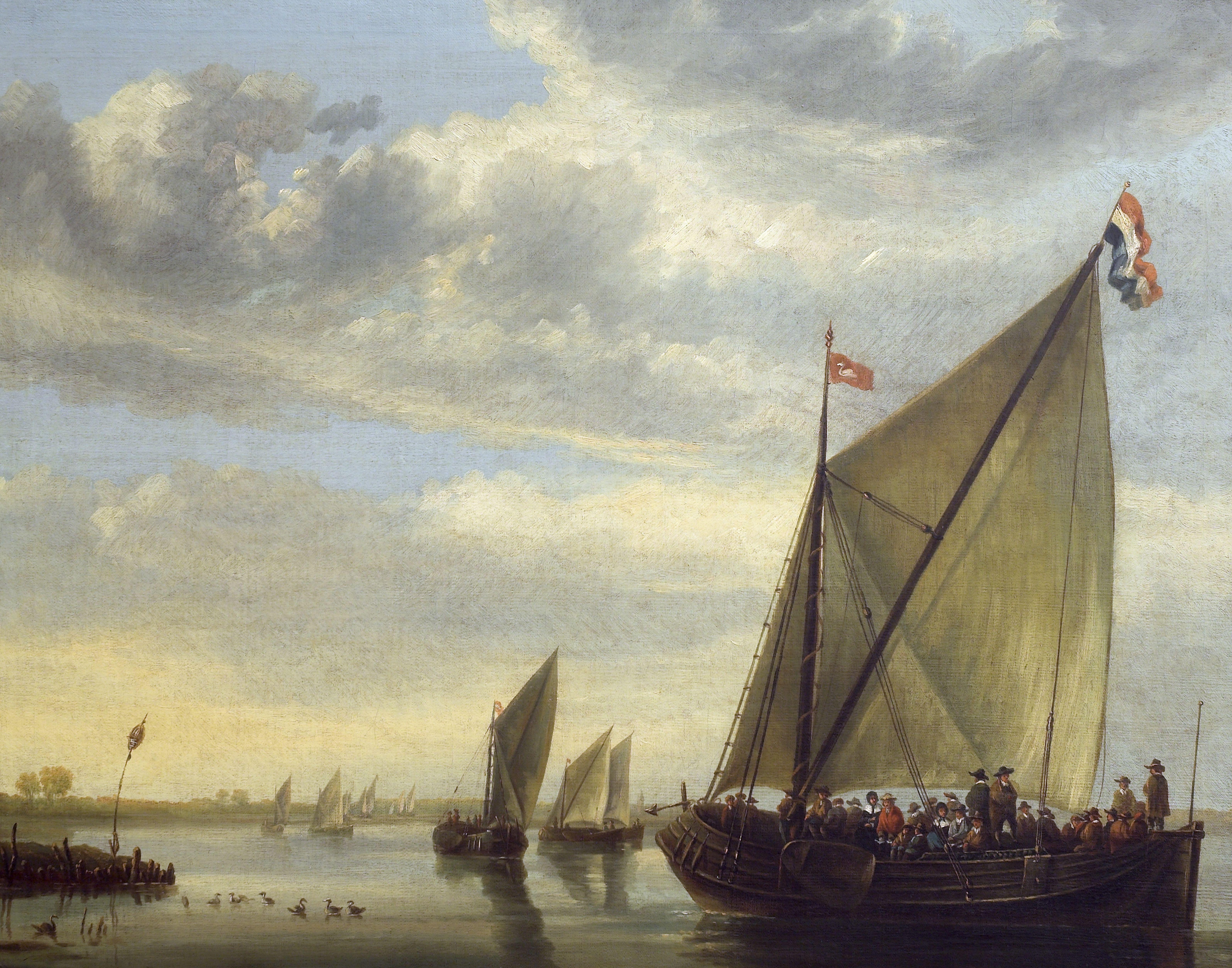 Aelbert Cuyp (1620-1691), <em>River Scene with a Ferry Boat</em>, ca. 1640-1650>br> Auckland Art Gallery Toi o T ̄amaki, Auckland (gift of Sir George Grey, 1887)