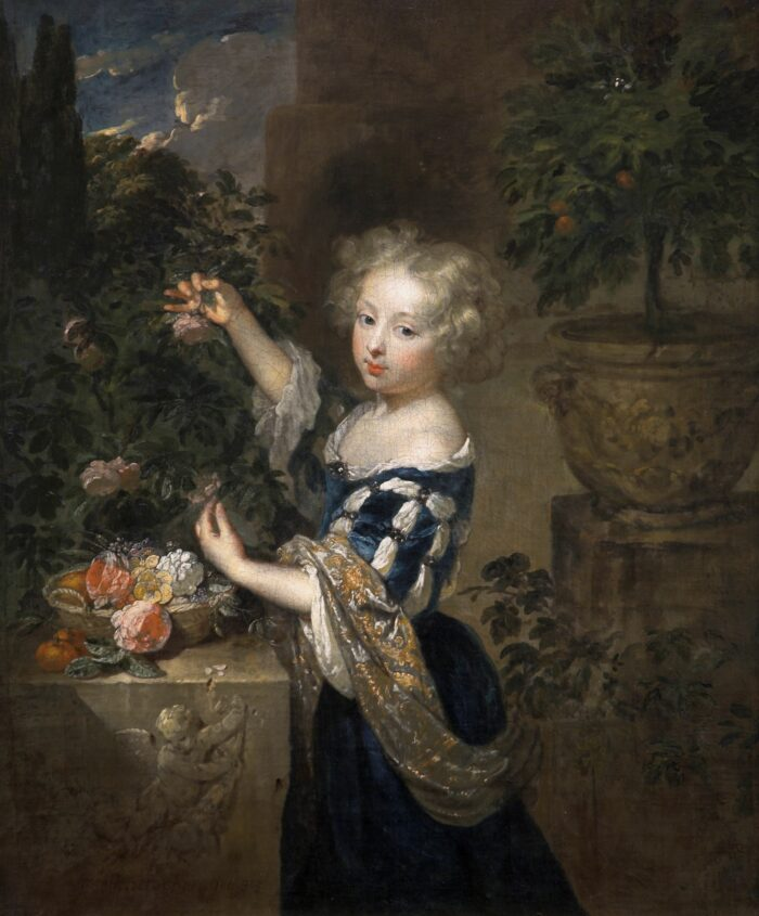 Casper Netscher (1635/36-1684), <em>Girl Arranging Flowers</em>, 1683<br>Auckland Art Gallery Toi o Tamaki, gift of Sir George Grey, 1887