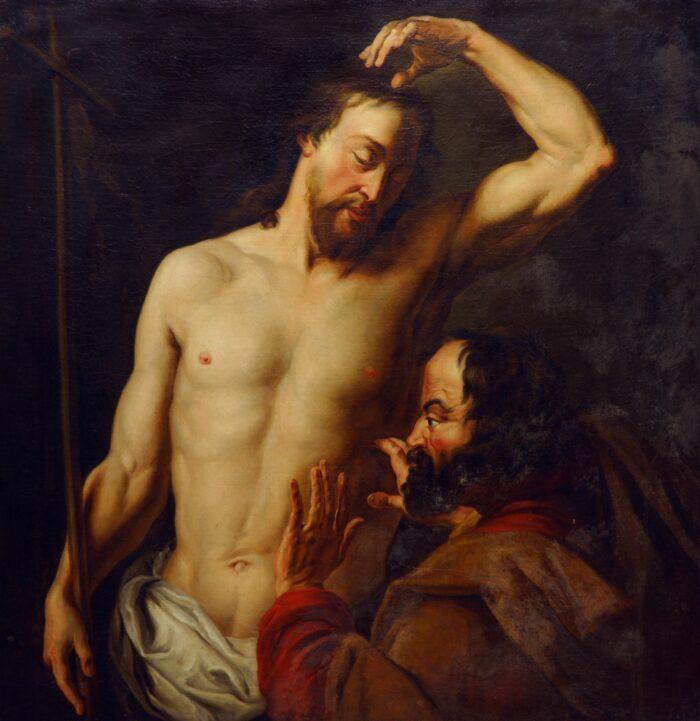 Follower of Hans Jordaens I , The disbelief of Saint Thomas, Auckland Art Gallery Toi o T ̄amaki, Auckland (gift of Mrs. S.D. Price, 1954)