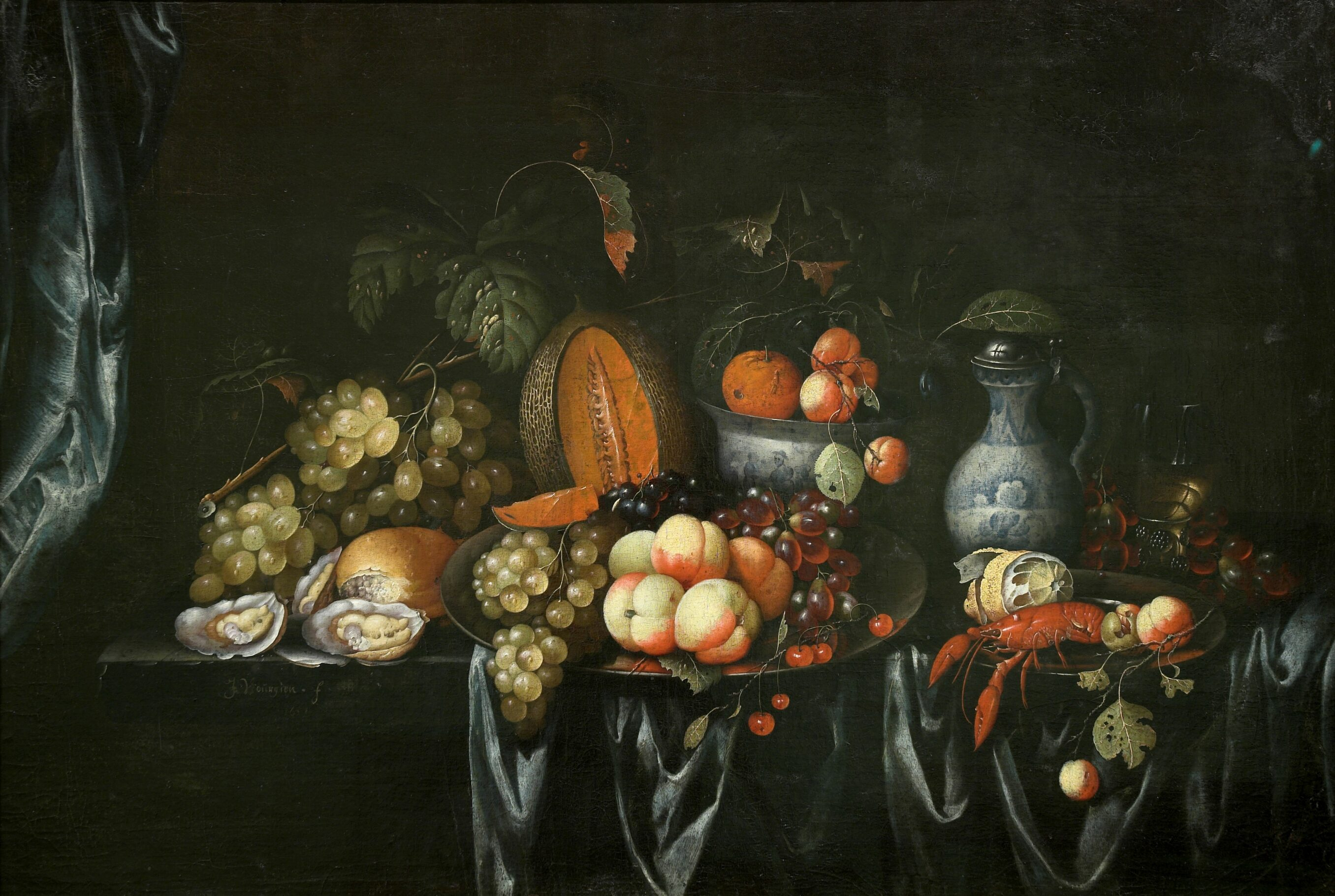 J. Bourjinon, Still life with fruit and shellfish, Auckland Art Gallery Toi o Tāmaki (gift of an anonymous donor, 1954)
