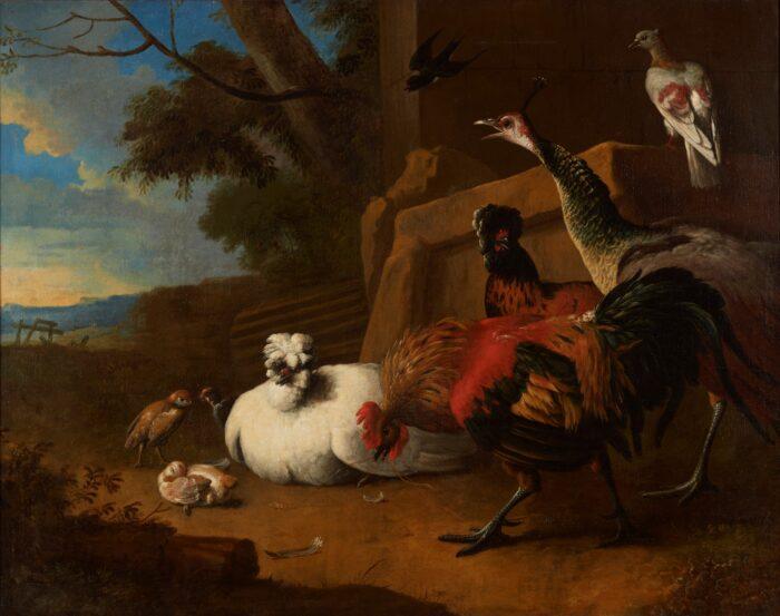 Melchior de Hondecoeter (1636-1695), <em>Poultry yard</em>, Ekaterinburg Museum of Fine Arts