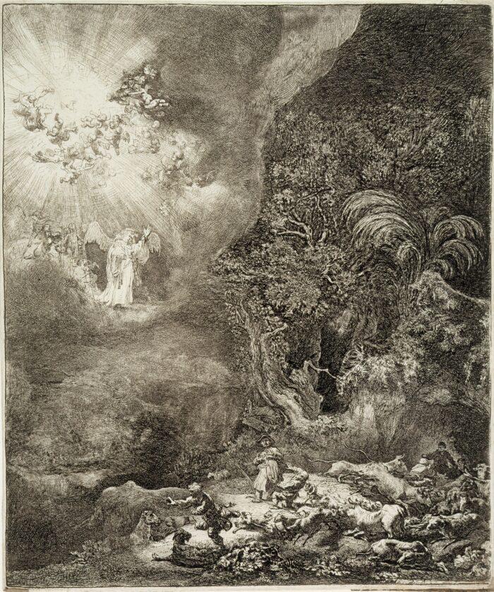 Rembrandt (1606-1669), <em>Annunciation to the Shepherds</em>, 1634<br>Sinebrychoff Art Museum, Helsinki