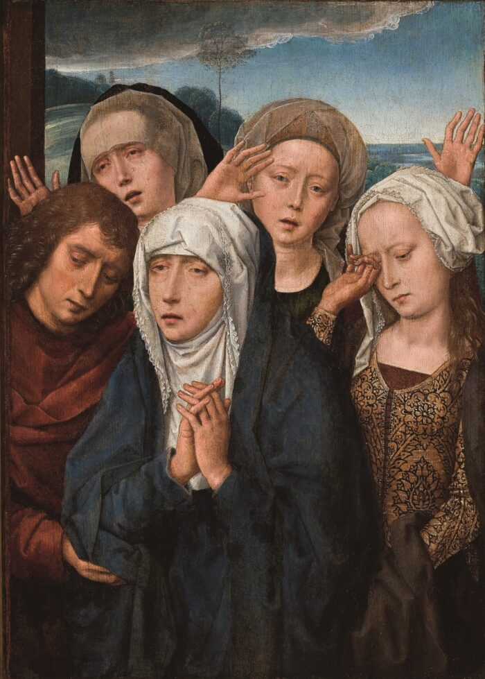 Hans Memling (1430-1494) , <em>The Mourning Virgin with St John and the Pious Women from Galilee</em> , c. 1493-94 MASP, Museu de Arte de São Paulo Assis Chateaubriand Photo by: João L. Musa