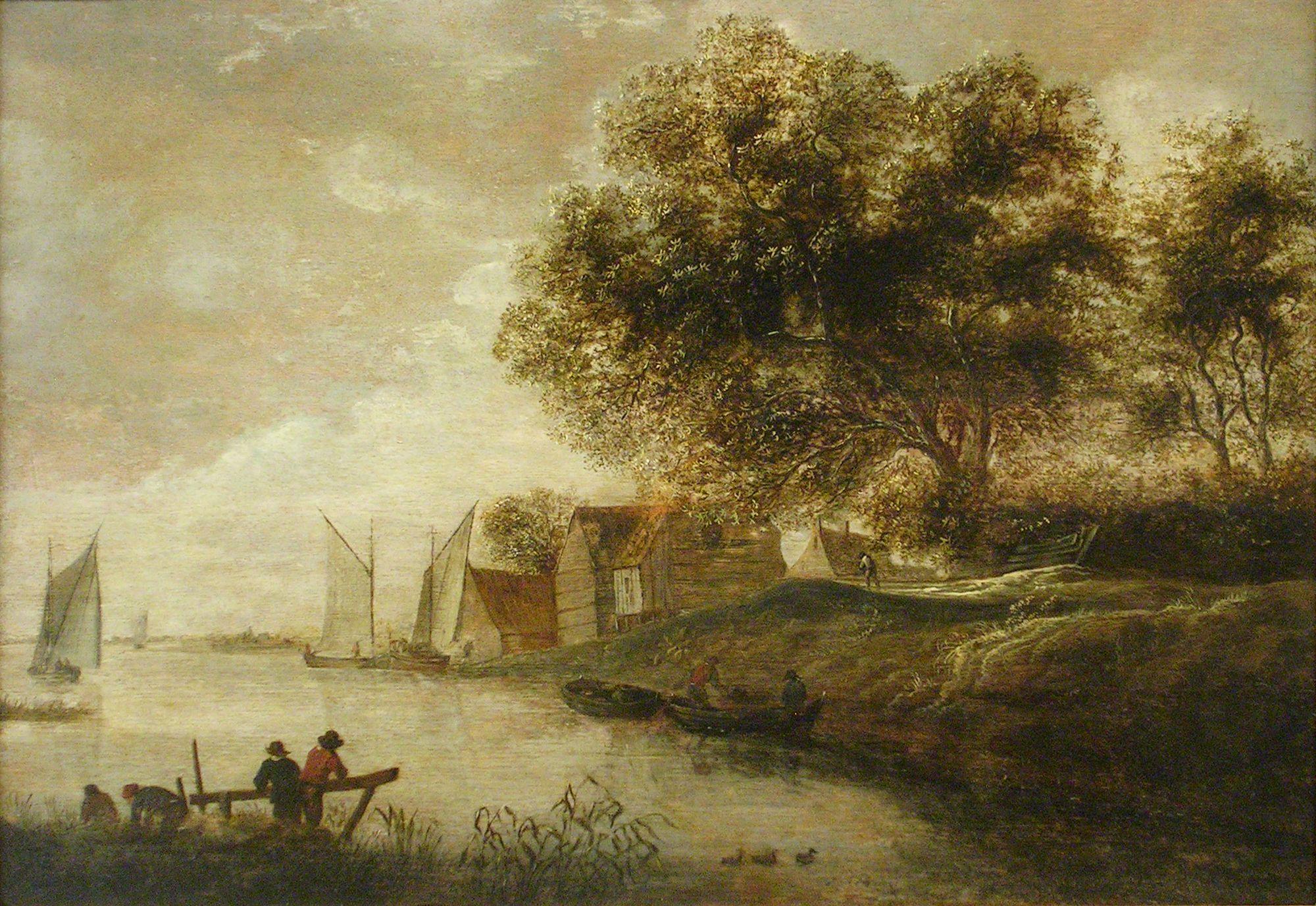 School of Jan van Goyen (1596-1656), View of a river. Museo Nacional de Bellas Artes de Cuba
