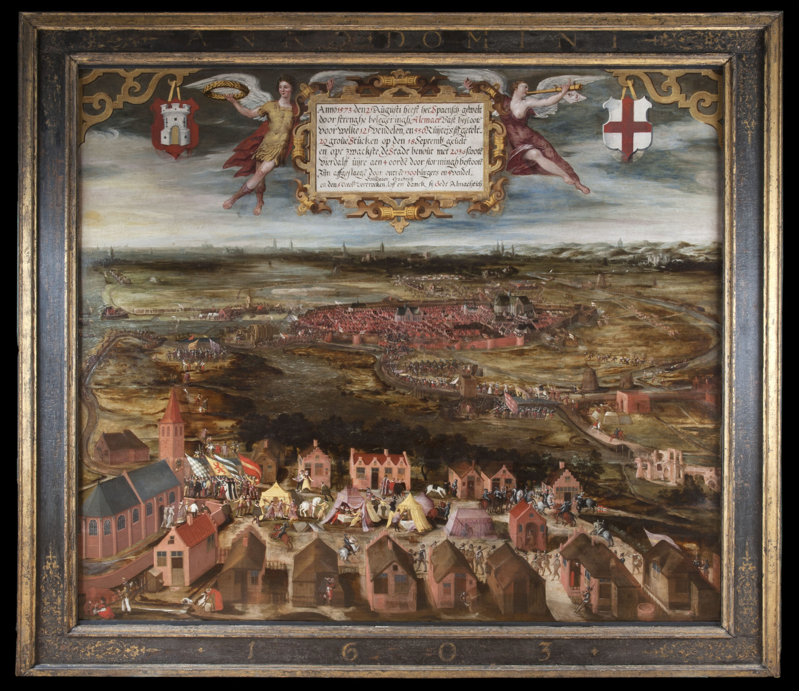 Fig.1. Unknown artist, <em>The Siege of Alkmaar in 1573 </em>, 1603, oil on panel, 160.3 x 187.3 cm<br>Restored with support from the Friends of the Stedelijk Museum Alkmaar Foundation.