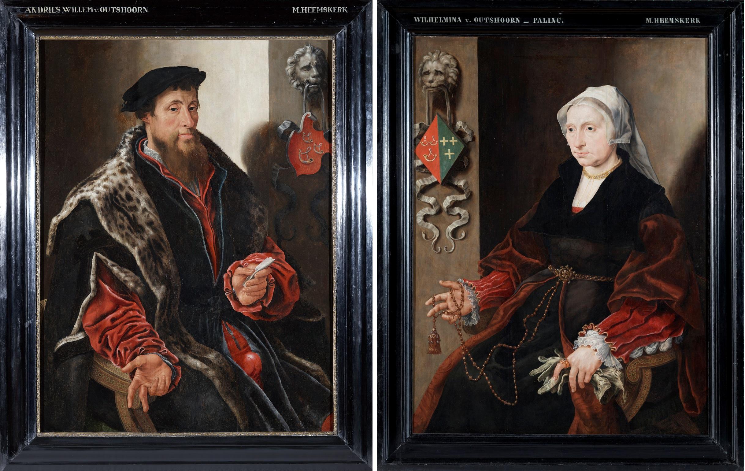 Fig. 2. Maarten van Heemskerck (1498-1574), Portraits of Andries van Oudshoorn van Sonnevelt (c. 1490-1555) and Wilhelmina Paling (c. 1499-1567), c. 1540On loan from the Stichting Provenhuis Paling en Van Foreest, restored with support from the Stichting Provenhuis Paling en Van Foreest (husband) and Stichting Victor Heiloo (wife)