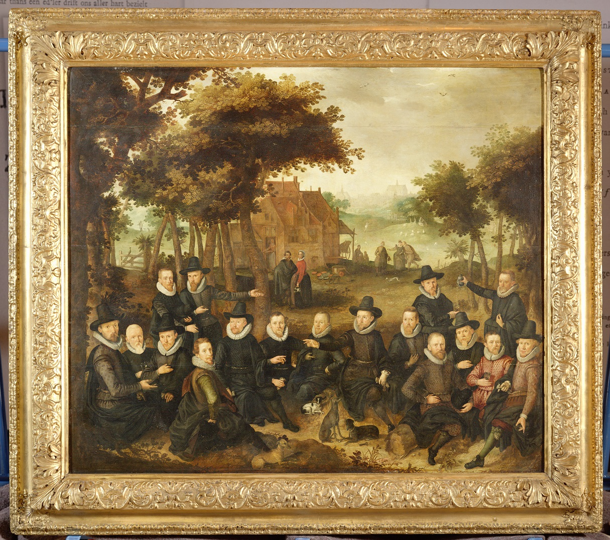 Fig. 7. Claes Jacobsz van der Heck (1575-1652), <em>Officers of the Old Civic Guard in a Landscape</em>, 1613<br>Restored with support from Duinvermaak / 't Vrouwtje van Duin, Bergen. (This photograph shows the painting before restoration.)<br>Stedelijk Museum Alkmaar