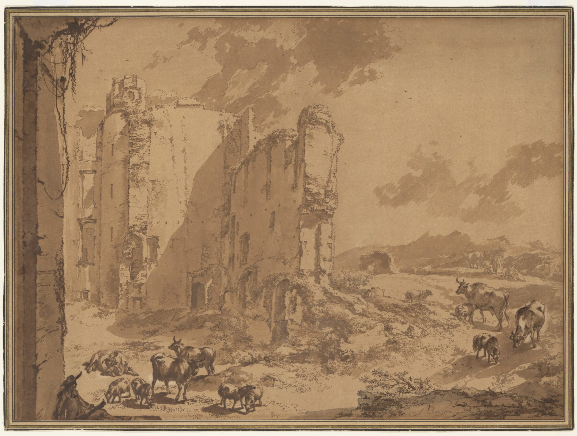 Nicolaes Berchem (1621-1683), The ruins of Brederode castle in an Italianate landscape , ca. 1650, The Metropolitan Museum of Art, New York, purchase, Joseph Pulitzer Bequest and Gift of Dr. Mortimer D. Sackler, Theresa Sackler and Family