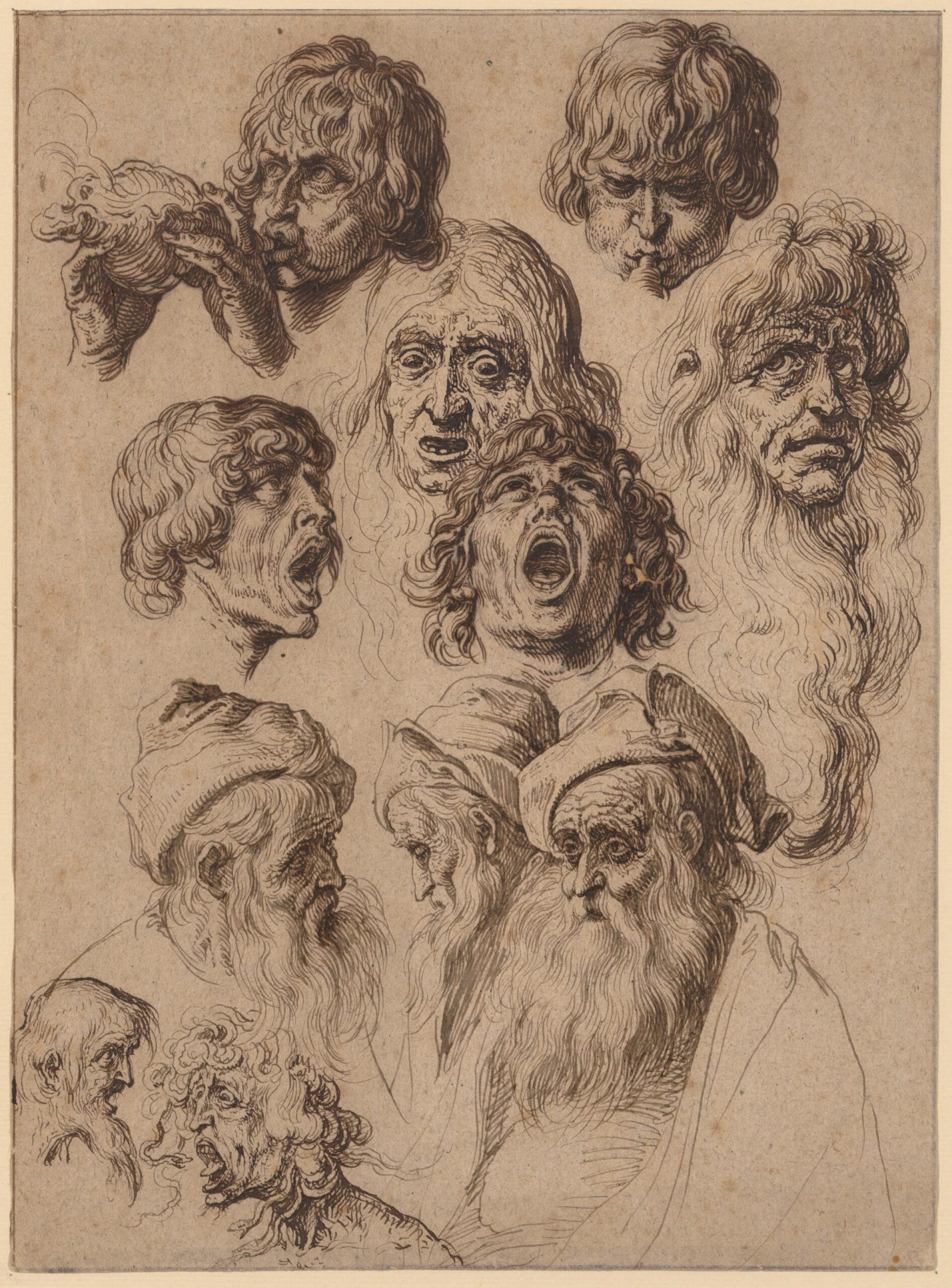 Jacob de Gheyn II (1565-1629), Study of eleven heads , ca. 1604-1620s. The Metropolitan Museum of Art, New York, purchase, Harris Brisbane Dick Fund, Frits and Rita Markus Fund, and Charles and Jessie Price Gift