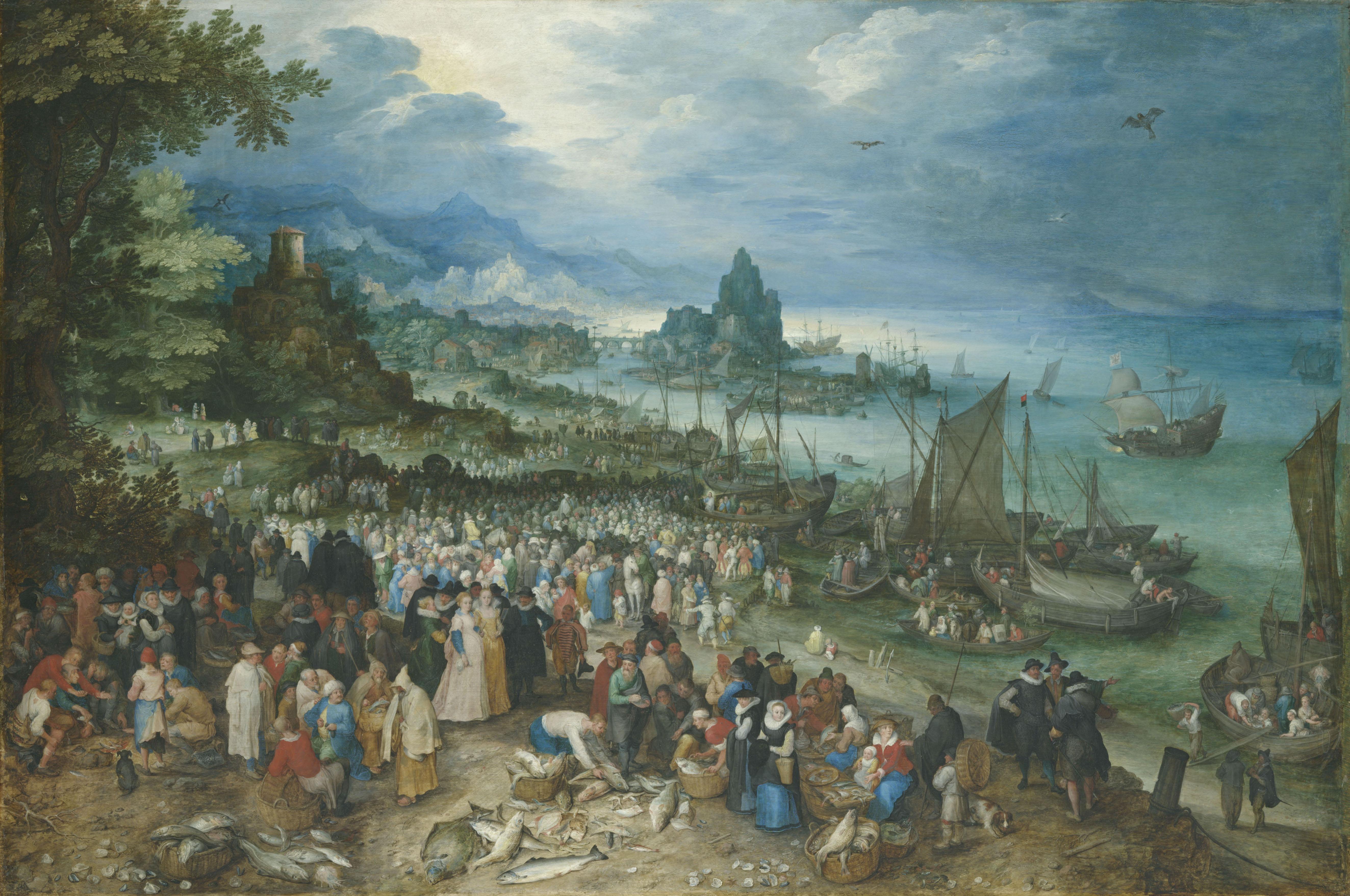 Jan Brueghel the Elder (1568-1625), <em>Harbor scene with Christ Preaching</em>, 1598<br>© Bayerische Staatsgemäldesammlungen, Alte Pinakothek, München