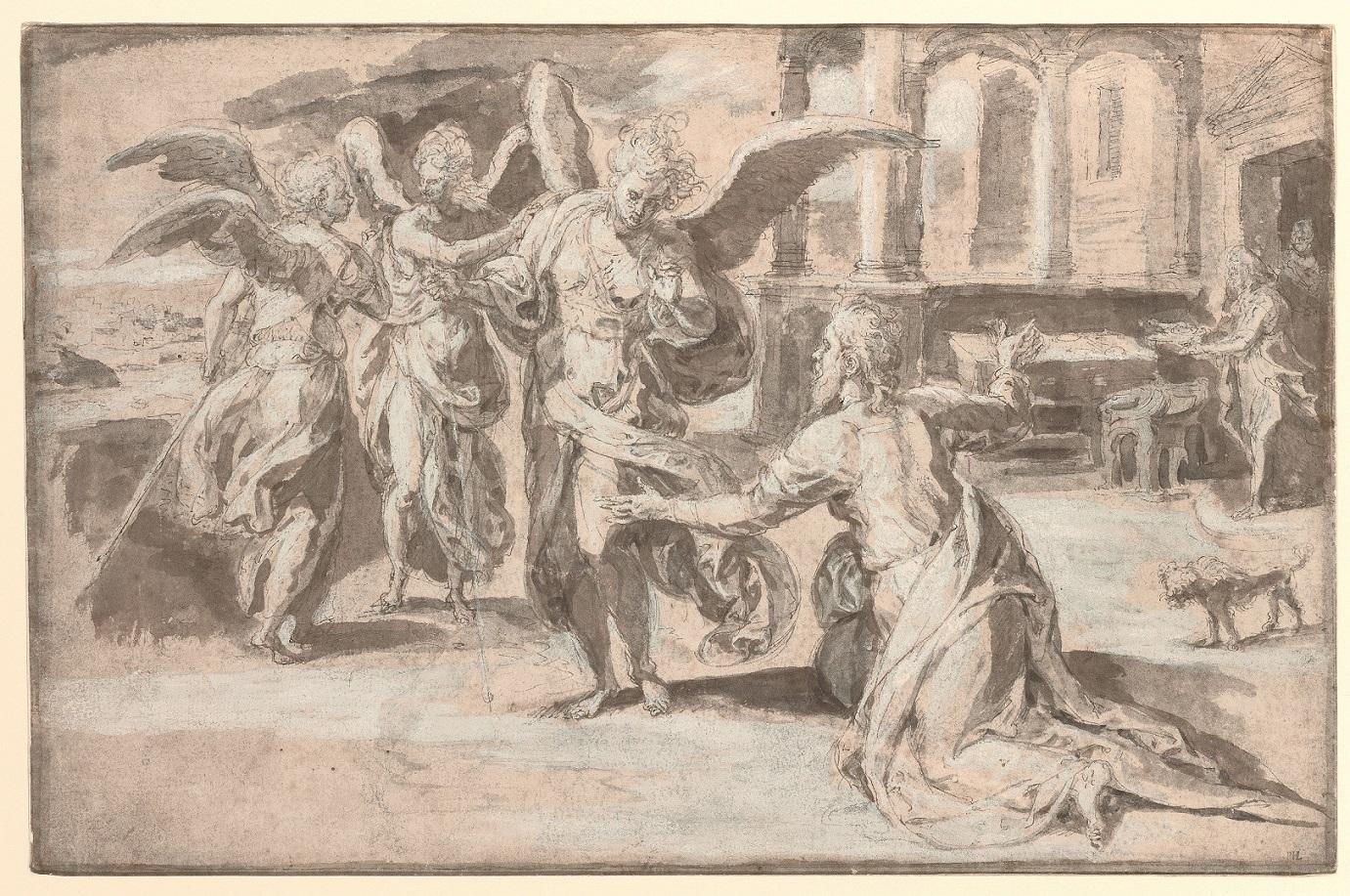 Fig. 2: Chrispijn van den Broeck (1524-1590), <em>Abraham and the Three Angels</em>, 1580<br>Szépművészeti Múzeum, Budapest