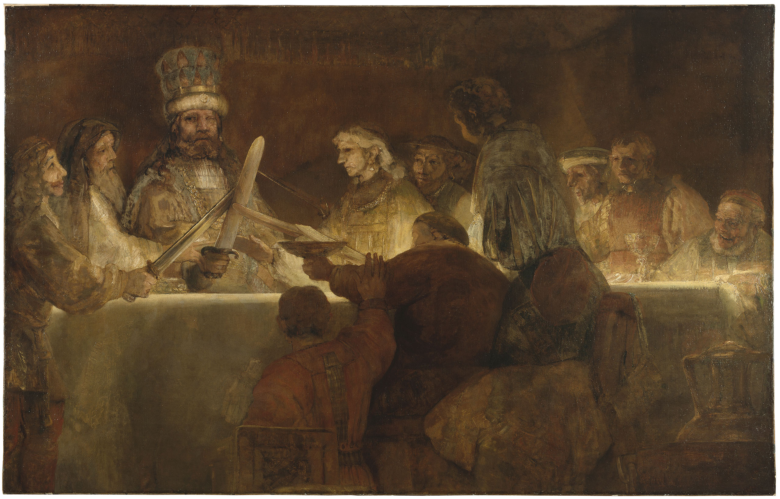 Fig. 4. Rembrandt van Rijn (1606-1669), <em>The Conspiracy of the Batavians under Claudius Civilis</em>, 1661-62 (inv. no. NM 578)