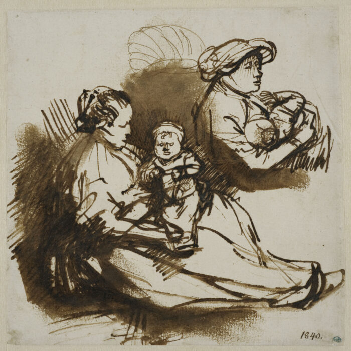 Fig. 5. Rembrandt van Rijn (1606-1669), <em>Two Studies of a Woman Holding a Child</em> (inv. no. NMH 2002/1863)