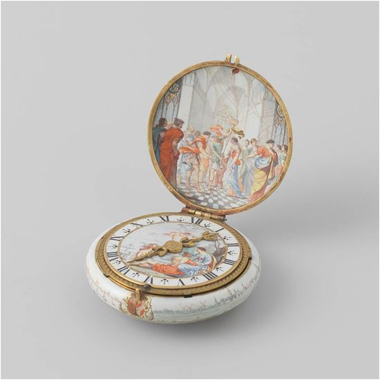 Jean Toutin and Antoine Mazurier, <em>Watch with enameled case, commemorating the marriage of William II and Mary Stuart</em>, 1641<br>Rijksmuseum, Amsterdam