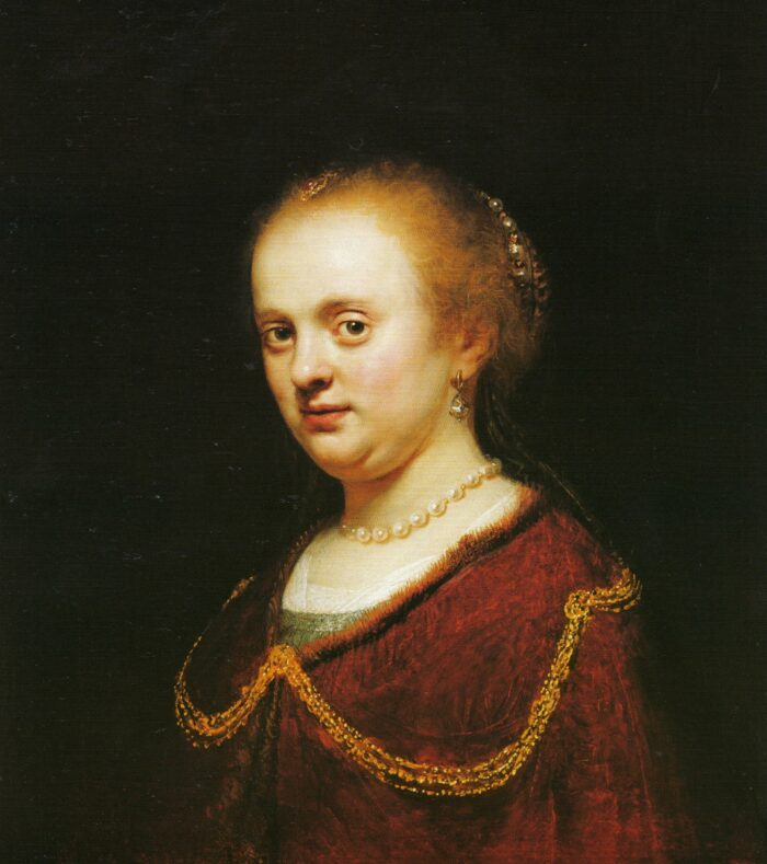 Fig. 3 Circle of Rembrandt (Govaert Flinck?), <em>Portrait of a Young Woman</em>, oil on canvas, 62.5 x 55.6 cm. Buenos Aires, Museo Nacional de Bellas Artes