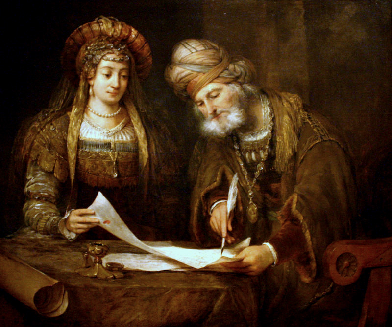 Fig. 4 Arent de Gelder (1645-1727), Esther and Mordecai Writing the First Purim Letter, oil on canvas, 111 x 132 cm. Buenos Aires, Museo Nacional de Bellas Artes