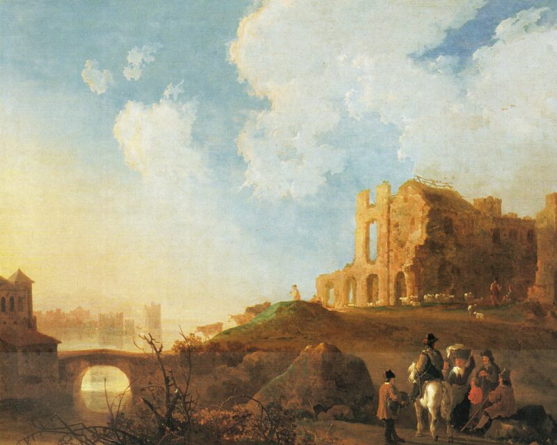 Fig. 5 Aelbert Cuyp (1620-1691), Landscape with the Ruins of Rijnsburg Abbey, oil on panel, 45 x 54.4 cm. Buenos Aires, Museo Nacional de Bellas Artes