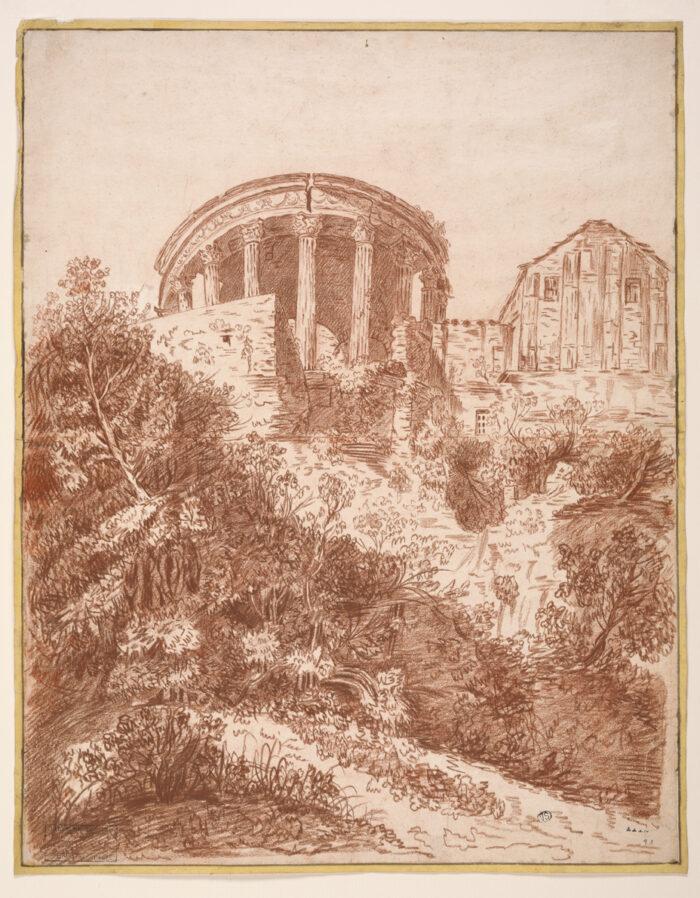 Fig. 3: Joseph Benoît Suvée (1743-1807), The Temple of Vesta at Tivoli, Groeningemuseum, Printroom, 0000.GRO1873.II Photo: Dominique Provost
