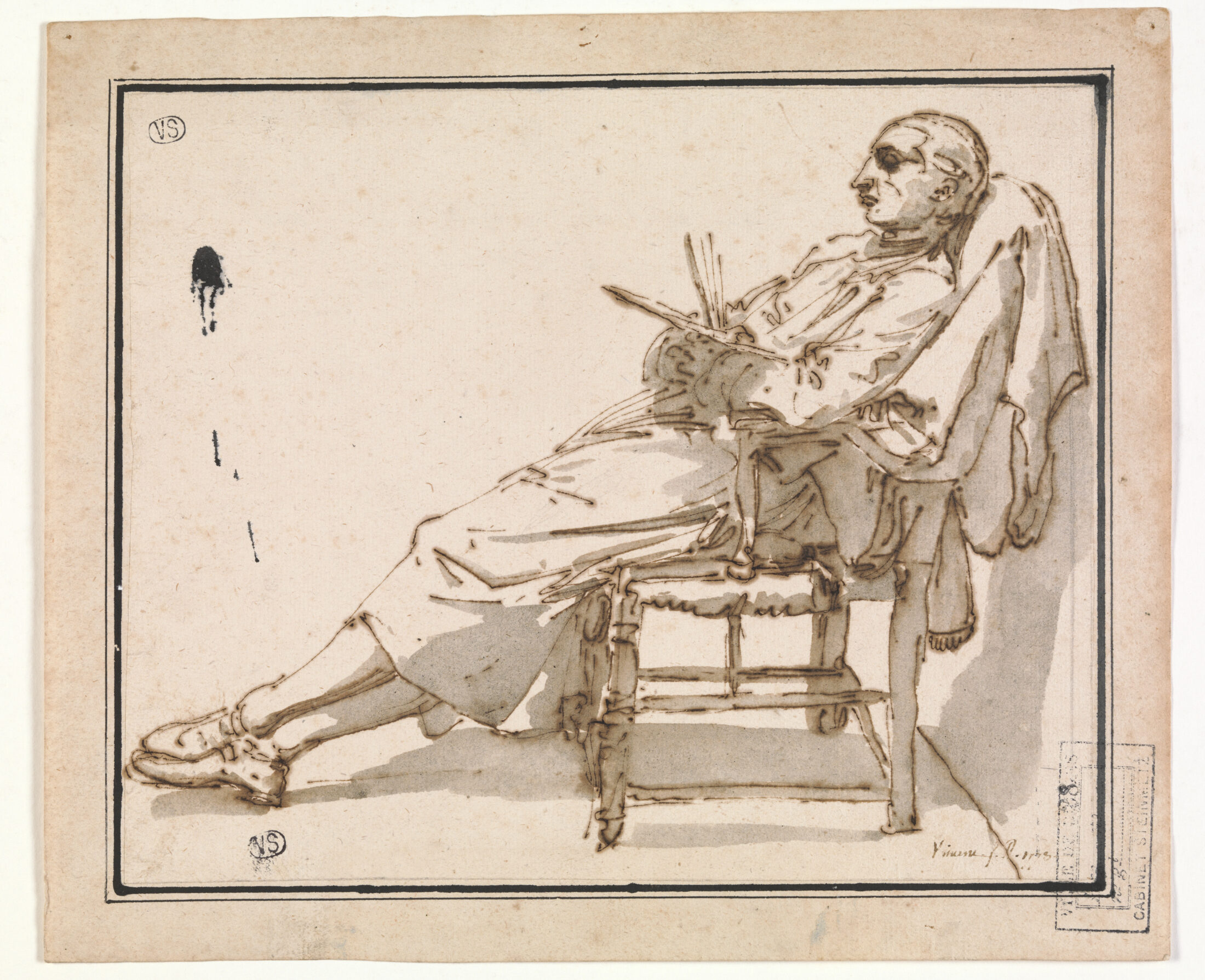 Fig. 6: François-André Vincent (1746-1816), Painter in a Reclining Chair, Groeningemuseum, Printroom, 0000.GRO3840.II Photo: Dominique Provost