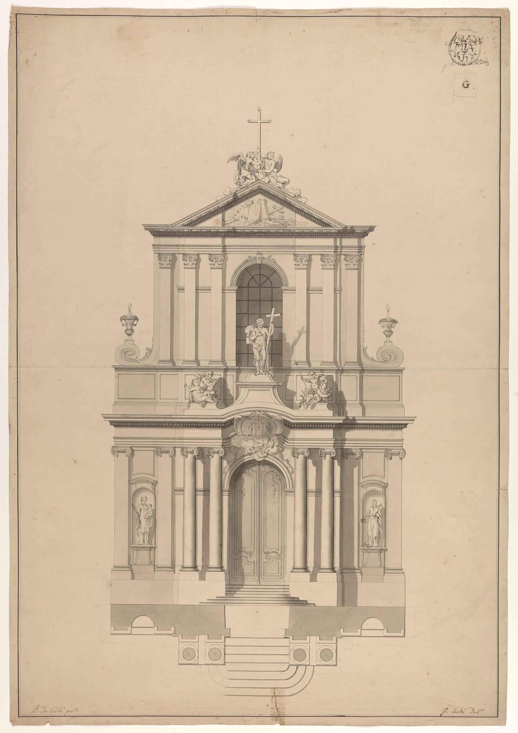 Fig. 7: Joseph Benoît Suvée (1743-1807), Design for the Façade of a Jesuit Church, Groeningemuseum, Printroom, 0014.GRO0013.II