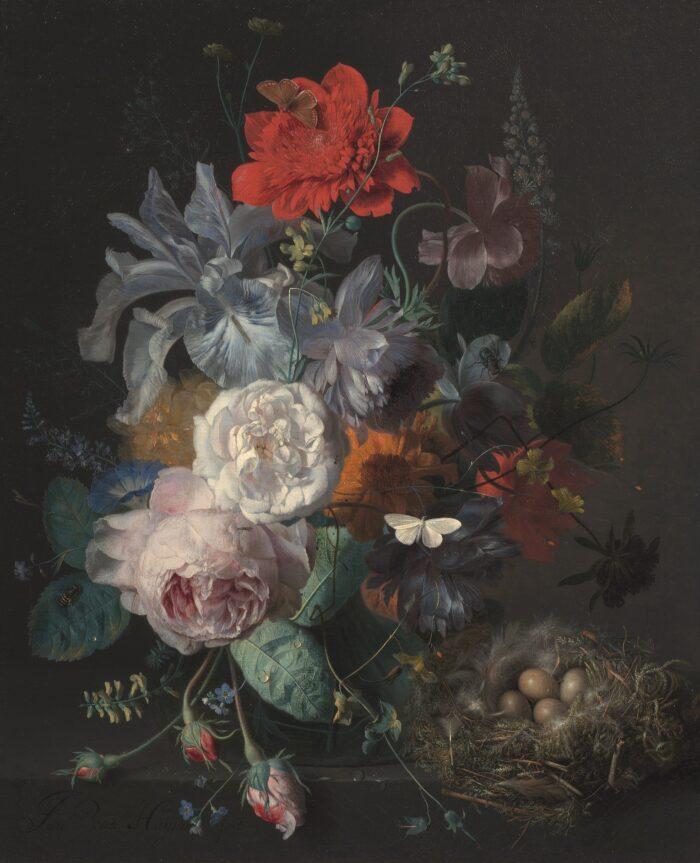 Jan van Huysum (1682-1749), <em>Glass Vase of Flowers with a Finch's Nest</em>, ca. 1720-21
