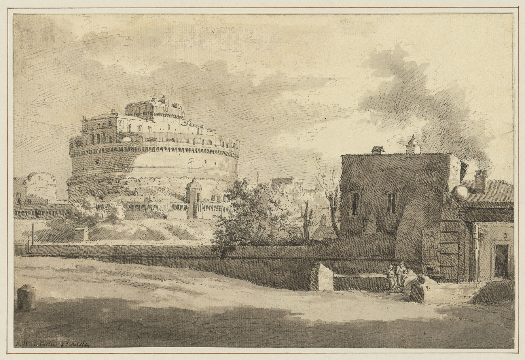 Fig 3. Isaac de Moucheron (1667-1744), View of the Castel Sant'Angelo in Rome, ca. 1694-1697, inv. 4060/2647