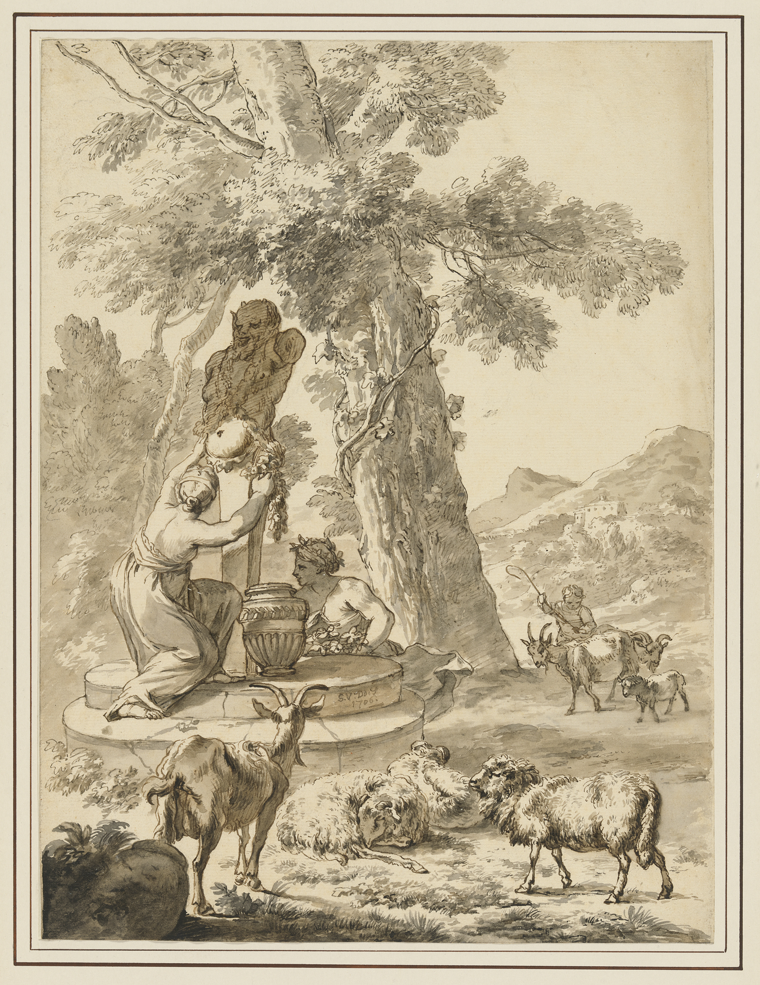 Fig 4. Simon van der Does (1653-1718), Landscape with a Woman in an Antique Gown Adorning a Statue of a Satyr with Garlands, 1706, inv. 4060/1052