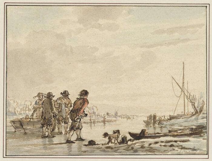 Fig 7. Jacob van Strij (1756-1815), <em>Winter Landscape with Figures on a Frozen River</em>, inv. 4060/3521