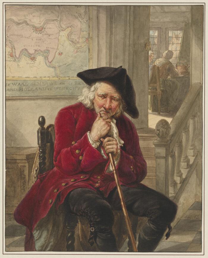 Fig 8. Abraham van Strij (1753-1826), <em>Old Man Sitting in the Hall of a House,</em>, inv. 4060/3514