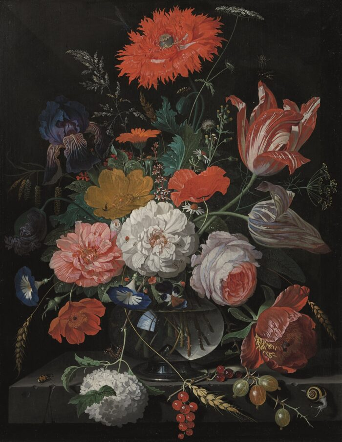 Abraham Mignon (1640-1679), <em>Flowers in a Glass Vase</em>, with Currants and Gooseberries in the Foreground, ca. 1670-75