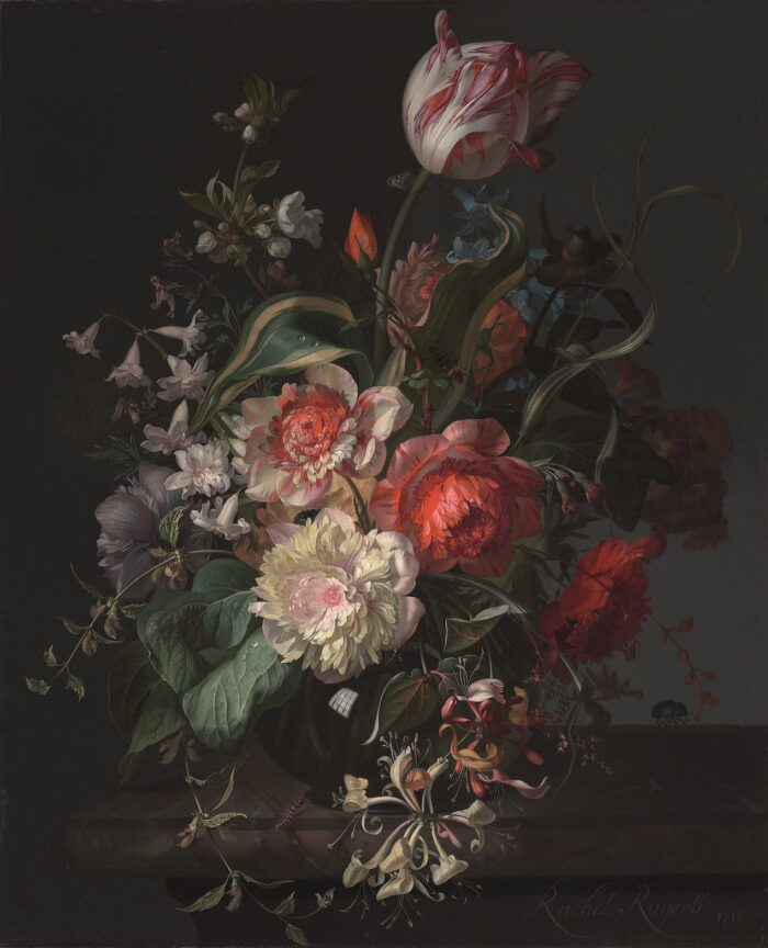 Rachel Ruysch (1664-1750), <em>Glass Vase of Flowers with a Tulip at the Top</em>, 1716