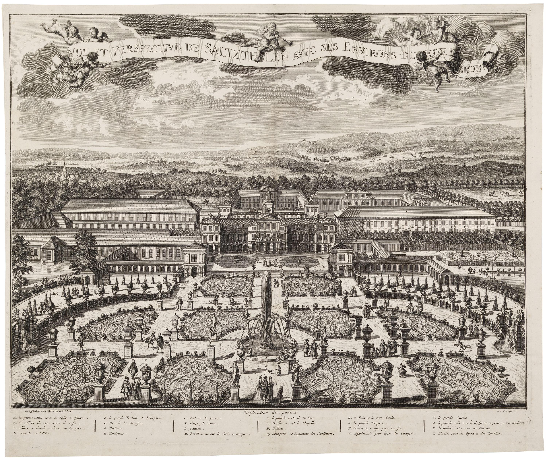 Fig.1. Pieter Schenk II (1660-1713), Schloss Salzdahlum, Seen from the Park, 1715, etching, pl. 50 x 60.5 cm</br>Herzog Anton Ulrich-Museum Braunschweig